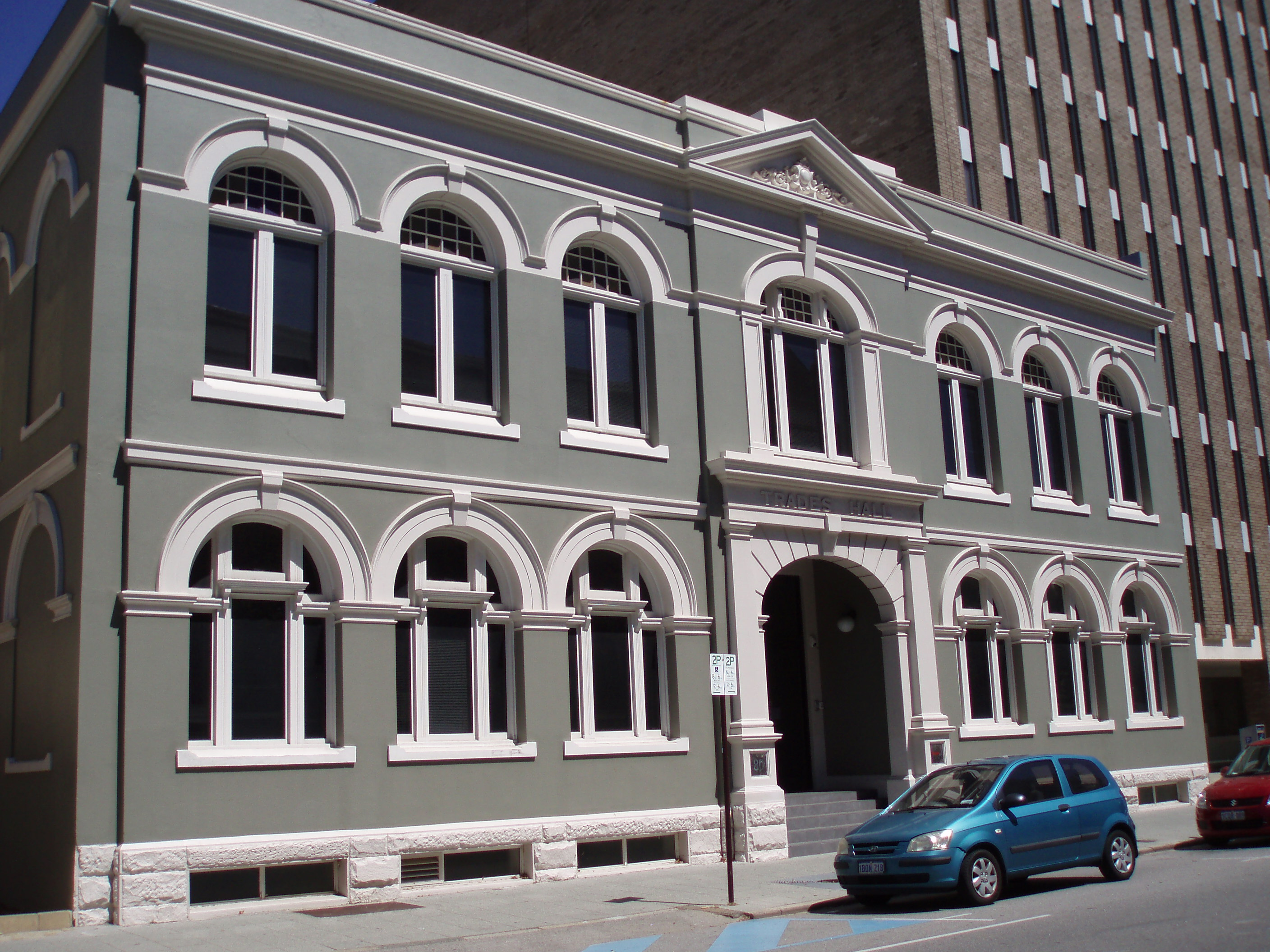 Trades Hall, west elevation