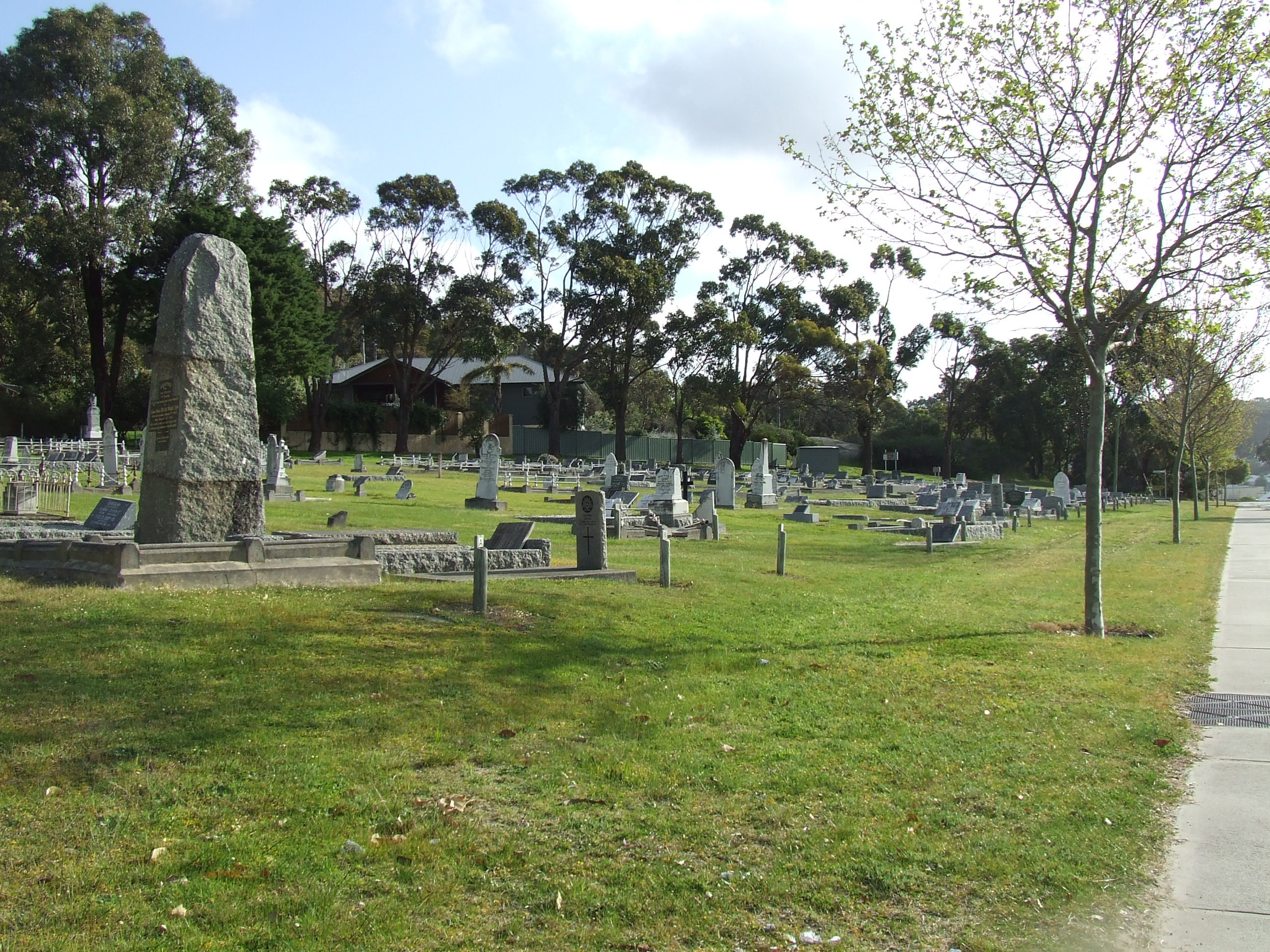 Upper cemetery looking west