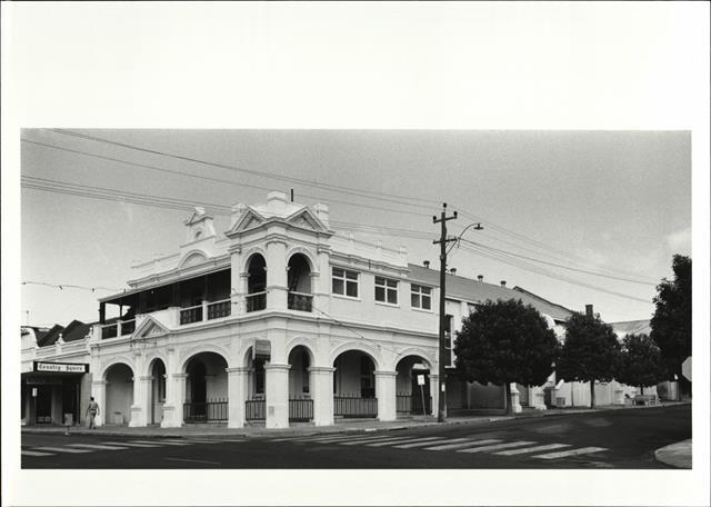 Front corner elevation of building