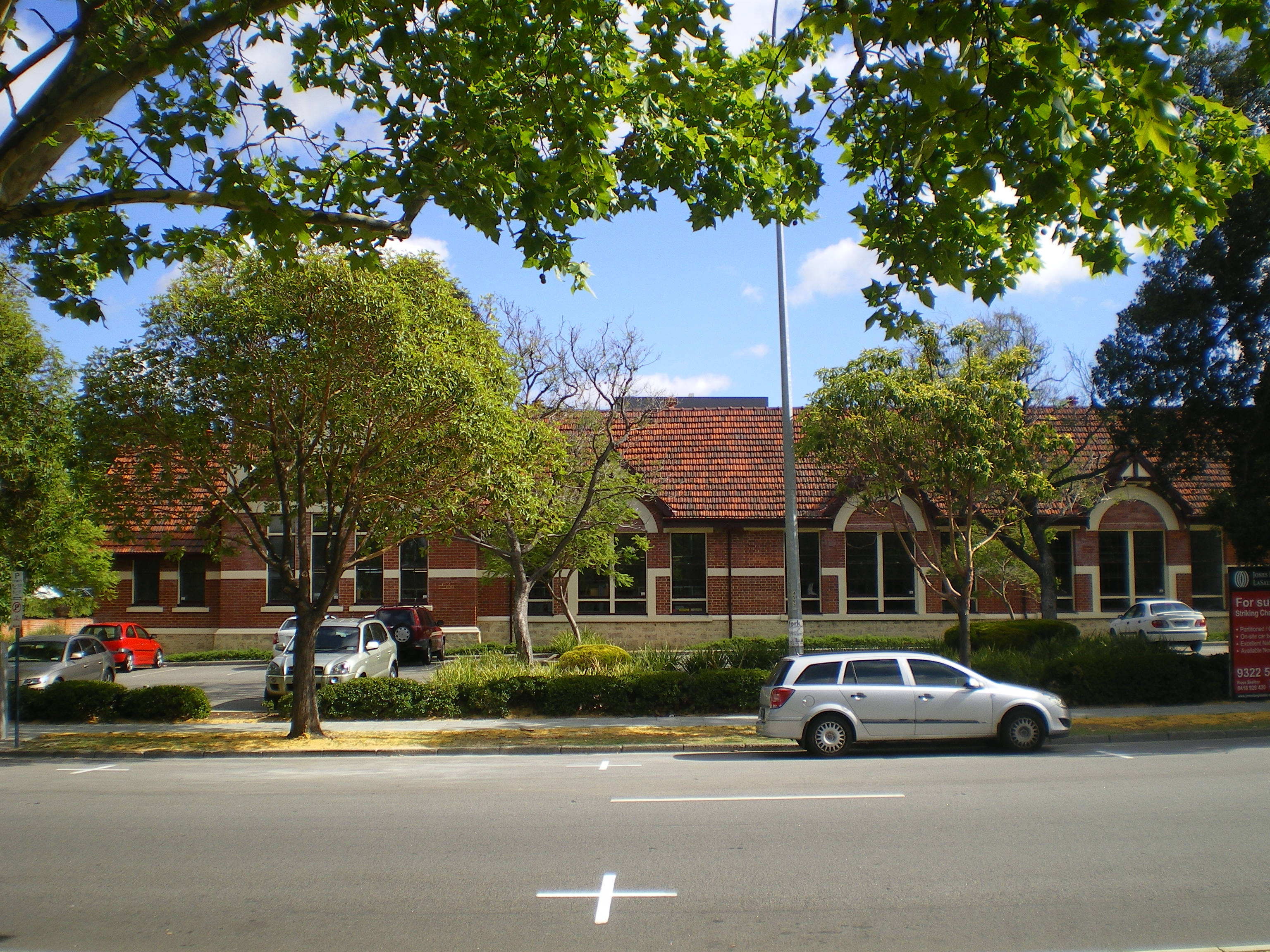 Front view from adjacent park