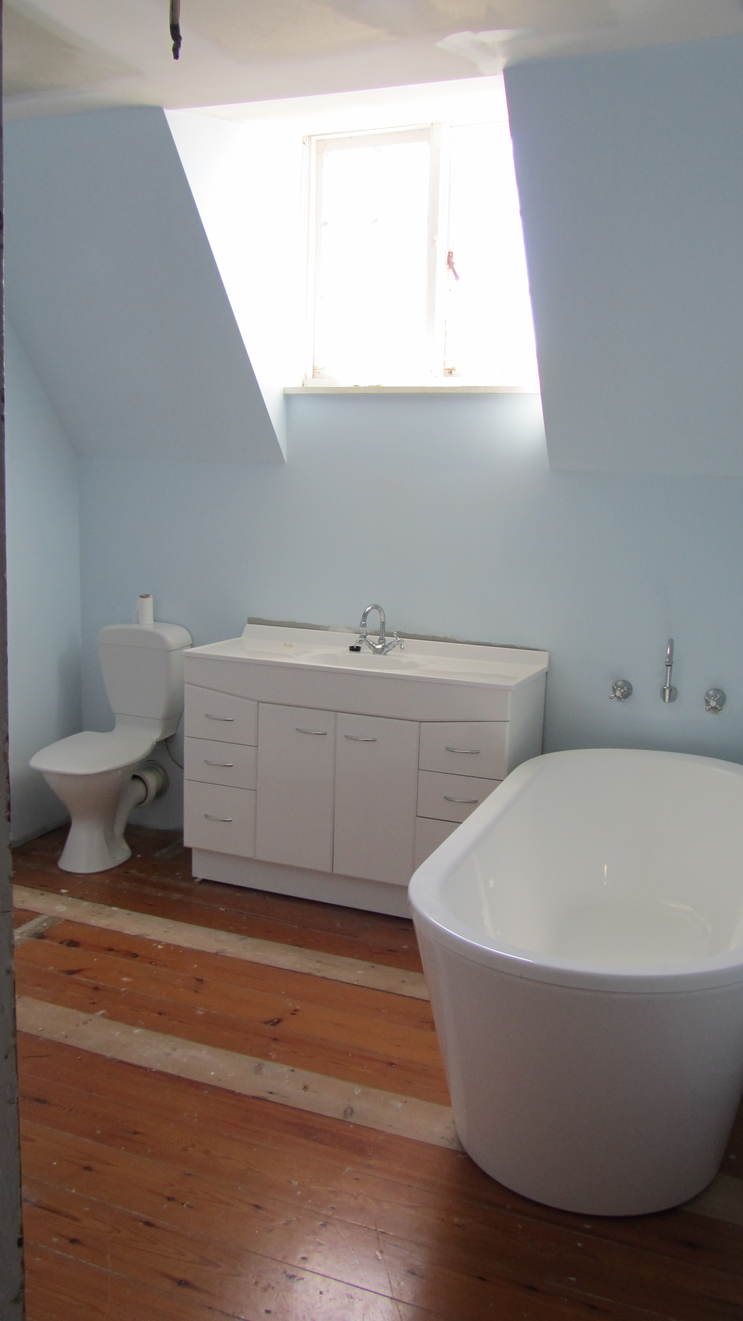 Interior upstairs bathroom in fmr attic