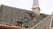 Roof tiles dislodged, photo courtesy Fr Cross